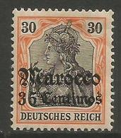 German Offices Morocco - 1905 Germania Overprint  & Surcharge 35c/30pf MH *  Mi  26 - Offices: Morocco