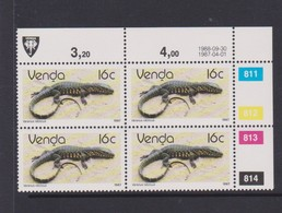 South Africa-Venda SG R131 1986 Reptiles,16c Iguana Reprint Dated 1988-09-30 Block 4, Mint Never Hinged - Venda