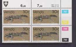 South Africa-Venda SG R135 1986 Reptiles,30c Gecko Reprint Dated 1987 Block 4, Mint Never Hinged - Venda