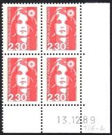 FRANCE 1989 MARIANNE DE BRIAT YT N° 2614 2,30 ROUGE COIN DATE DU 13-12-89 - 1989-96 Marianne Du Bicentenaire