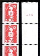 FRANCE 1990 MARIANNE DE BRIAT ROULETTE YT N° 91  2,30 ROUGE, AVEC 3 TIMBRES NUMEROTES, ** - 1989-96 Marianne Du Bicentenaire