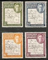 FALKLAND ISLANDS DEPENDENCIES 1948 MAP THIN AND CLEAR VALUES TO 1s SG G9, G11b, G14, G16 MOUNTED MINT Cat £60+ - Falkland Islands