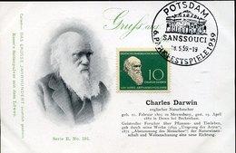 44843 Germany Ddr, Maximum 1959  Charles Darwin, Naturforscher  Mi-631,   Vintage Card - Cartes-Maximum (CM)