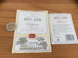 Etiquette De Vin 1997 + Contre-étiquette «BERGERAC - CHATEAU BEL AIR - SCEA GRAND MARSELET - ST-LAURENT-DE-VIGNES (24)» - Bergerac
