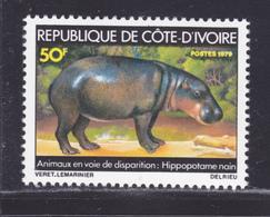 COTE D'IVOIRE N°  488 ** MNH Neuf Sans Charnière, TB (D8942) Animaux En Voie De Disparition, Hippopotame - 1979 - Costa De Marfil (1960-...)