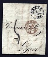 CP 8- LETTRE DE GREIZ ALLEMAGNE POUR LYON- PETIT CAD ALLEMAND DE 1857 + CAD ROUGE AMBULANT DE TOUL A FORBACH- 3 SCANS - 1801-1848: Précurseurs XIX