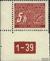 Bohemia And Moravia P1 With Plate Number Unmounted Mint / Never Hinged 1939 Porto Brand - Bohemia & Moravia