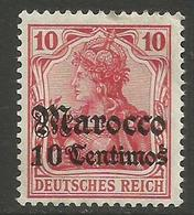 German Offices Morocco - 1906 Germania Overprint  & Surcharge 10c/10pf MLH *  Mi  35 - Offices: Morocco