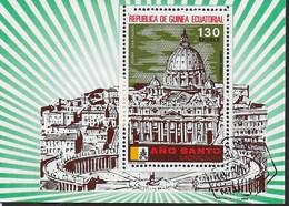 GUINEA EQUATORIALE - ANNO SANTO 1975 - 130 EK - FOGLIETTO USATO (MICHEL  BL 106) - Guinea Equatoriale