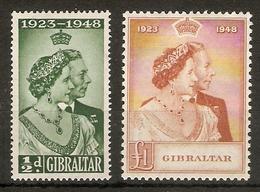 GIBRALTAR 1948 SILVER SILVER WEDDING SET LIGHTLY MOUNTED MINT Cat £61.50 - Gibraltar