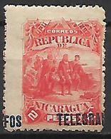 NICARAGUA     -   Télégraphes  -    1892.   Y&T N° 19 * .  Surcharge à Cheval - Nicaragua