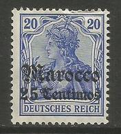 German Offices Morocco - 1906 Germania Overprint  & Surcharge 25c/20pf MH *  Mi  36 - Offices: Morocco