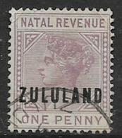 South Africa, 1894,  Zululand, Overprint On Natal 1d Revenue  , Used, - Zululand (1888-1902)