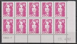 2717  4.00F. BRIAT ROSE - DEMI BAS De FEUILLE X 10 - TD6-7 Du 23.4.92 - - 1989-96 Marianne Du Bicentenaire