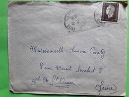 Lettre ILLIERS L' ÉVÊQUE, Eure, MARIANNE DULAC 2 F, YT 692 Seul ,correspondance Pinson Soldat > Marraine De Guerre 1945 - Marcophilie (Lettres)
