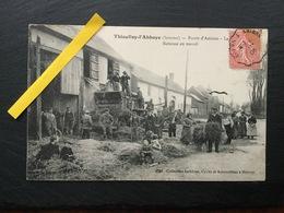 THIEULLOY L'ABBAYE - Route D'Amiens - La Batteuse En Travail - Voyagée En 1906 - Francia