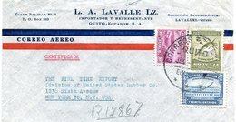 ECUADOR 1946 ENVELOPPE.REGISTERED AIR MAIL.BARGAIN.!! - Ecuador