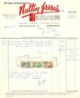 Factuur Facture - Ets Nuttin Frères - Moeskroen  - Mouscron 1964 - Imprenta & Papelería
