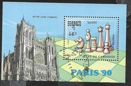CAMBOGIA - PARIS '90 SCACCHI - FOGLIETTO USATO (YVERT 80 - MICHEL  BL 170) - Scacchi