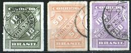 Brésil 1889 Chiffres Obliques, Reis 10 Dark Grey Olive, 50 Orange Brown, 100 Violet, J 10, 11, 12   Excellent Condition - Brésil