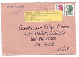 (C17) - Y&T N°2244 + 2178 - LETTRE AVION ST DENIS REUNION => USA 1986 - France