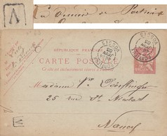 VOSGES CP ENTIER MOUCHON 1903 PORTIEUX BOITE URBAINE V = LA VERRERIE DE PORTIEUX - Marcophilie (Lettres)