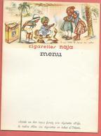 Menu Publicitaire Chromo-lithographié, Vierge CIGARETTES NAJA -illustré Par GERMAINE BOURET -TABAC D'ORIENT-CASQUE COLON - Menus