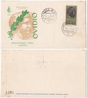 REPUBBLICA !!! 1957 ITALIA OVIDIO FDC SU BUSTA !!! 125/IT - 6. 1946-.. Repubblica