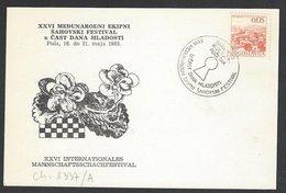 Chess, Yugoslavia Pula, 16.05.1983, Special Cancel & Cachet On Card, International Festival - Schach