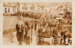 Real Photo Véritable - Inondation Flood Sherbrooke - Dépôt & King - Cars Crowd Foule Animated - 1935-1945 - 2 Scans - Sherbrooke
