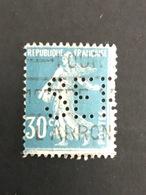 FRANCE S N° 192 Semeuse SEP 69 Indice 7 1924/26 Perforé Perforés Perfins Perfin - France