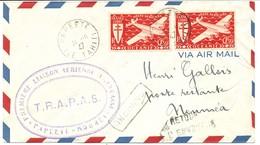 TAHITI TRAPAS LETTRE AVION LIAISON AERIENNE PAPEETE NOUMEA 31/10/1947 - Tahiti