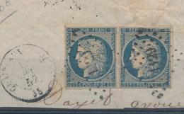 N°4 PAIRE BLEU FONCE SUR FRAGMENT. - 1849-1850 Ceres