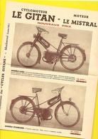 """Publicité Cyclomoteurs """"LE GITAN"""" De GITANE Format A4 Env. - Motos"""