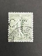 FRANCE N° 130 Semeuse Ligné CT 371 Indice 5 Perforé Perforés Perfins Perfin Tres Bien !! 1903/24 - Perforés