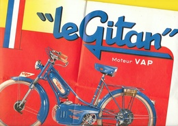 """Affiche Publicité Cyclomoteur """"LE GITAN"""" Moteur VAP Format Double A4 Env. - Motos"""
