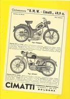 """Publicité Ciclomotore """"H.M.W CIMATTI"""" Format A5 Env. - Motos"""