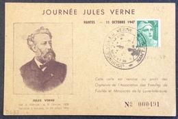 D433 Journées Jules Verne Nantes De La Terre à La Lune 11/10/1947 CPA N°491 Gandon 716A - Postmark Collection (Covers)