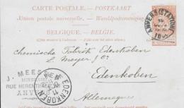Belgien Ganzsachen Karte 1898 Anvers- Edenkoben - 1884-1891 Leopold II.