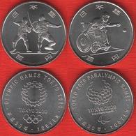 """Japan Set Of 2 Coins: 100 Yen 2018 """"Tokyo 2020 - Boccia, Fencing"""" UNC - Japan"""