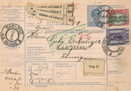 Paketkarte Gablonz Neisse über Prag Nach Luzern (Postzollamt Buchs) - 3 Karton - 1850-1918 Empire