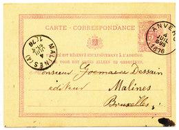 1876 CARTE CORRESPONDANCE 5c TYPE COB 28 VAN ANVERS !DU! NAAR MALINES(A) ZIE SCAN(S) - Entiers Postaux