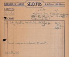 FACTURE SELECT'US - MANUFACTURE DE GALOCHES - ROMANS - DROME - AUCOURT - SAULIEU - 1949 - 1900 – 1949