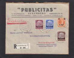 """""""PUBLICITAS"""" LUXEMBURG.MISCHFRANKATUR(NUR 6 MONATE MÖGLICH)AUF EINGESCHRIEBENER BRIEFABSCHNITT. - 1940-1944 Occupation Allemande"""