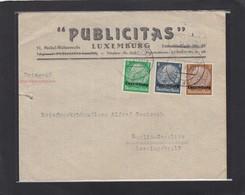 PUBLICITAS,LUXEMBURG.BRIEF MIT HINDENBURG FRANKATUR IN 3 VERSCHIEDENE FARBEN. - 1940-1944 German Occupation