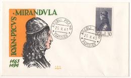 REPUBBLICA !!! 1963 ITALIA PICO DELLA MIRANDOLA FDC SU BUSTA !!! 196/IT - 1961-70: Marcophilia