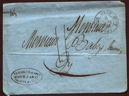 CP 8- LETTRE BLEUE  DE GRAY POUR GY- BEAU CAD TYPE 11 DOUBLE FLEURON DE GRAY- CAD D'ARRIVÉE A GY TYPE 14- 2 SCANS - 1801-1848: Précurseurs XIX