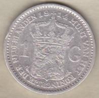 Pays-Bas, 1 Gulden 1914 , WILHELMINA I , En Argent - [ 3] 1815-… : Royaume Des Pays-Bas