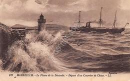 Cartolina Marseille Phare De La Desirade Depart D'un Courrier De Chine Illustree - Cartoline