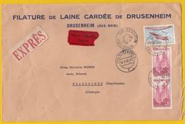 FILATURE DE LAINE CARDÉE DE DRUSENHEIM.LETTRE PAR EXPRESS POUR HELBRECHTS.PLUSIEURS CACHETS DONT AMBULANT/BAHNPOSTSTPL. - Frankreich